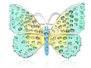 Swarovski Crystal Elements Green Yellow Jeweled Majestic Butterfly Pin Brooch Brooches And Pins Jewelry