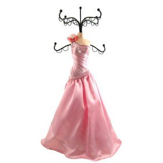 Elegant One Shoulder Evening Gown Doll Jewelry Stand Pink   Closet Hanging Jewelry Organizers