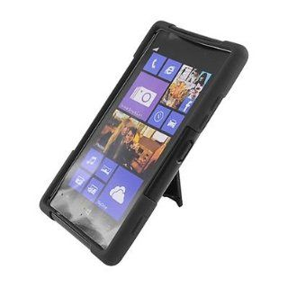 For Nokia LUMIA 925 Hybrid Rubber Hard Case Black Black with Y Shape Stand