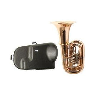 Miraphone 186 4U Series 4 Valve Gold Brass BBb Tuba with Hard Case (Standard) Musical Instruments