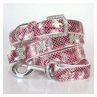 """The Wild Thing"" 192 Swarovski crystals jewelled Python Skin Pattern Dog Collar and Leash Set   Pink / Small  Pet Leashes"