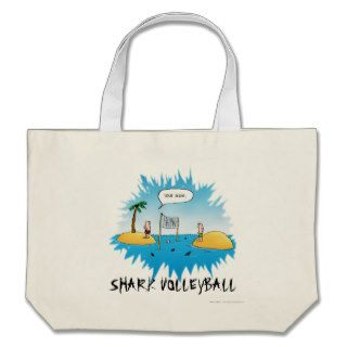 Shark Volleyball Funny Cartoon Canvas Bags