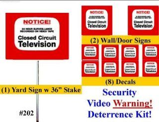 "Security Sign & Security Decal   #202 1 Video CCTV Security Surveillance Camera System Warning Sign & Decal Sticker Kit  Commercial Grade 1 on 36"" Aluminum Stake with Safety Cap, 2 Gate Signs & 8 Decals."
