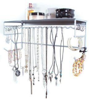 "Silver 17"" Wall Mount Jewelry & Accessory Storage Rack Organizer Shelf for Earrings, Bracelets, Necklaces, & Hair Accessories   Closet Hanging Jewelry Organizers"