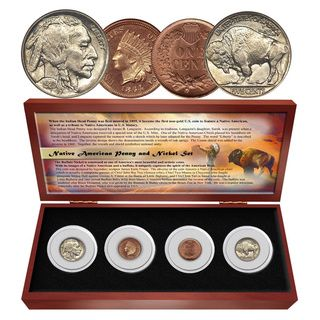 Matthew Mint Native American Penny/ Nickel Four Coin Set The Matthew Mint Coins