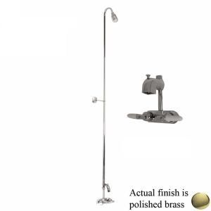 Pegasus 2 Handle Claw Foot Tub Code Diverter Faucet without Hand Shower with Riser and Plastic Showerhead in Polished Brass 4199 PB