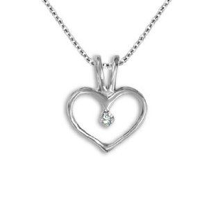 0.01 Carat White Diamond G H I1 Heart Love Charm Pendant 14K White / Yellow Gold Jewelry