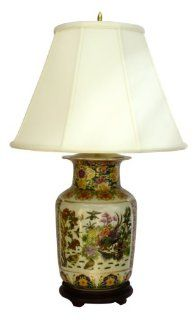 "Stunning Tong Chi Satsuma style porcelain lamp from China   rosewood stand to compliment this finely detailed Satsuma porcelain   30"" H.   Table Lamps"