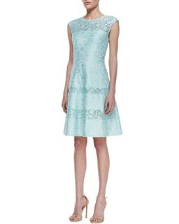 Tiered Lace Cap Sleeve Cocktail Dress, Mint   Kay Unger New York