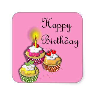 Happy Birthday Cute Party Cup Cakes Stickers