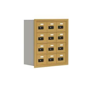 Salsbury Industries 19000 Series 24 in. W x 25.5 in. H x 8.75 in. D 12 A Doors R Mount Resettable Locks Cell Phone Locker in Gold 19048 12GRC