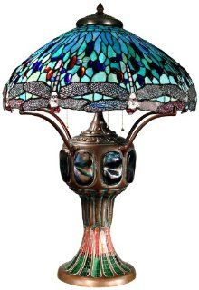 Dale Tiffany 0007/273E Blue Dragonfly Table Lamp, Antique Verde and Art Glass Shade