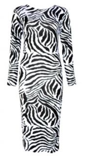 Vip Women's Long Sleeved Zebra Print Midi Dress