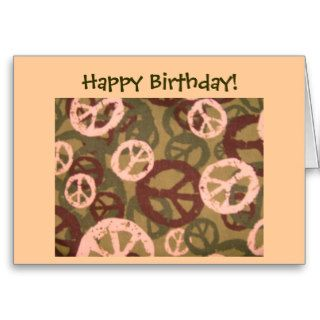 Happy Birthday Peace Signs/Camo Look Card
