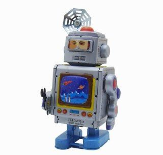 "Aerospace Repairer Robot, Metal Robot Winds Up, New Tin Toy Collection, 5"" Tall"