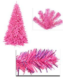 9' Pre Lit Hot Pink Full Artificial Sparkling Tinsel Christmas Tree  Pink Lights