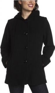 AK Anne Klein Women's Wool Single Breasted Seamed Detail Hooded Pea Coat, Black, Small
