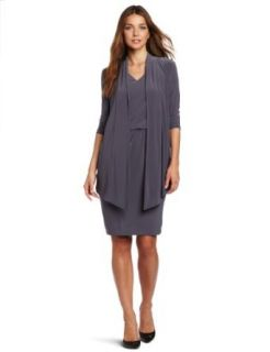 Jones New York Women's Matte Jersey Mock Jacket Dress With Cinched Waste, Grey, 4