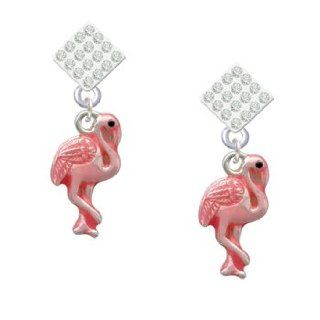 Hot Pink Flamingo Clear Crystal Diamond Shaped Lulu Post Earrings [Jewelry] Dangle Earrings Jewelry