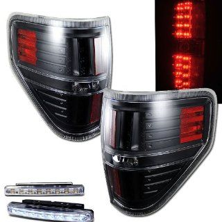 2009 2010 FORD F 150 F150 REAR BRAKE TAIL LIGHT BLACK HOUSING+LED BUMPER RUNNING Automotive