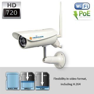 TriVision NC 326PW Wi Fi Wirelss & POE Combo HD 720P Home IP Security Camera Outdoor. Install in 3 Steps with Our Free iPhone, iPad and Android apps. 15m Night Vision, Motion Sensor, SD card DVR, and more  Bullet Cameras  Camera & Photo