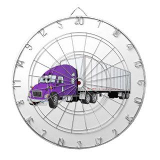 Semi Truck Purple White Trailer Cartoon Dart Board