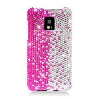 Eagle Cell PDLGG2XF322 RingBling Brilliant Diamond Case for LG G2x/Optimus 2x   Retail Packaging   Hot Pink/Silver Divide Cell Phones & Accessories