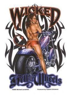 Wicked Hell on Wheels biker babe sticker ad374 decal