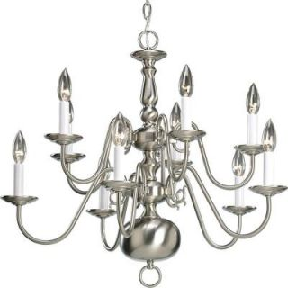Progress Lighting Americana Collection 10 Light Brushed Nickel Chandelier P4358 09