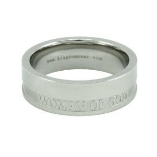 "Christian Womens Stainless Steel 6mm Abstinence ""Woman Of God"" Proverbs 31 Comfort Fit Chastity Ring for Girls   Girls Purity Ring Jewelry"