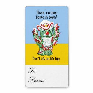 Funny Santa Claus Cactus Christmas Humor Gift Tags Personalized Shipping Labels
