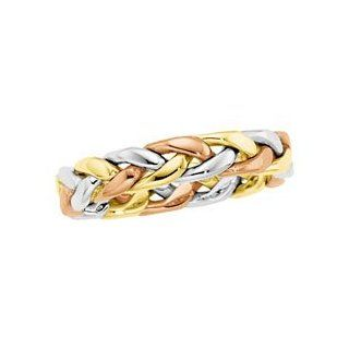 Size 5 14K Yellow/White/Rose Gold Tri Color Hand Woven Band Jewelry