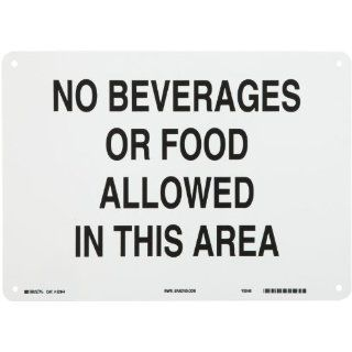 "Brady 22844 14"" Width x 10"" Height B 401 Plastic, Black on White Maintenance Sign, Legend ""No Beverages Or Food Allowed In This Area"" Industrial Warning Signs"