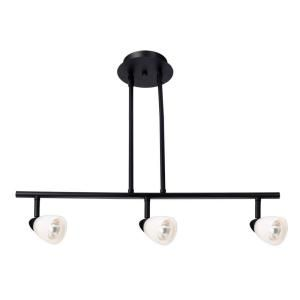 Design House Jerico 3 Light Oil Rubbed Bronze Rail Lighting with Frosted White Glass Shades 517185