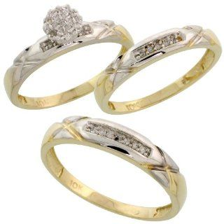 10k Yellow Gold Diamond Trio Engagement Wedding Ring Set for Him and Her 3 piece 4 mm & 3.5 mm wide 0.13 cttw Brilliant Cut, ladies sizes 5   10, mens sizes 8   14 Jewelry