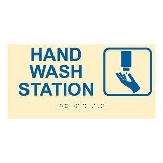 ADA Hand Wash Station Braille Sign RSME 369 SYM BLUonIvory Wash Hands  Business And Store Signs