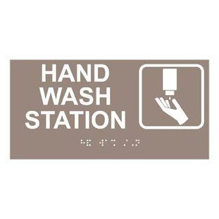 ADA Hand Wash Station Braille Sign RSME 369 SYM WHTonTaupe Wash Hands  Business And Store Signs