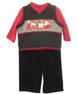 BT Kids Train Sweater Vest With Red Turtleneck And Navy Corduroy Pants Grey, 3 6 Months Infant And Toddler Pants Clothing Sets Clothing