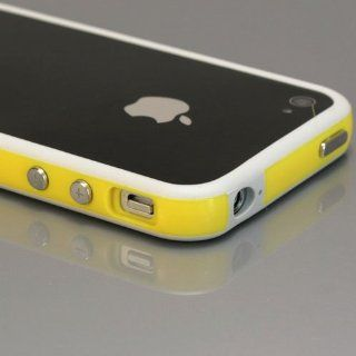 White / Yellow Bumper Case for Apple iPhone 4 [Total 60 Colors] +Free Screen Protector and Charge USB Cable (371 37) Cell Phones & Accessories