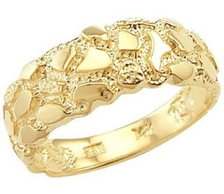 Size  4   14k Solid Yellow Gold Ladies Mens Nugget Ring Right Hand Rings Jewelry