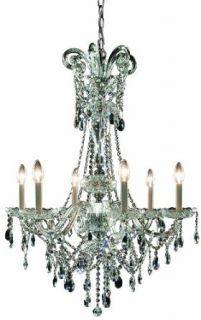 Trans Globe Lighting EL 6 BK/SMK Crystal Six Light Up Lighting Chandelier from the Versailles Collection, Black/Smoke