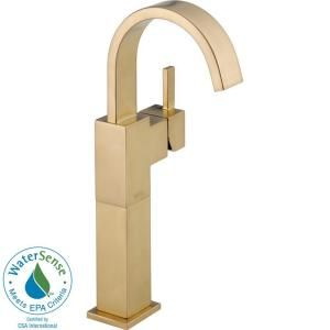 Delta Vero Single Hole 1 Handle High Arc Bathroom Vessel Faucet in Champagne Bronze 753LF CZ