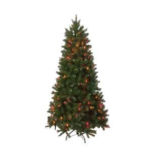 National Tree Company 6.5 ft. Feel Real Bavarian Pine Hinged Tree with 400 Multi Color Lights PEBV7 308E 65