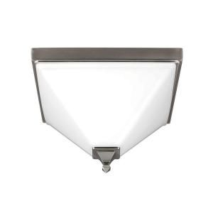 Sea Gull Lighting Denhelm 2 Light Brushed Nickel Ceiling Flush Mount with Inside White Painted Etched Glass 7550402 962