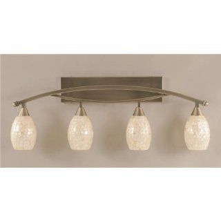 Bow 4 Light Bath Bar in Brushed Nickel Finish w 5 in. Sea Shell Glass   Wall Porch Lights