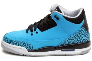 Nike Kid's Air Jordan 3 Retro GS, DARK POWDER BLUE/WHITE BLACK WOLF GREY Shoes