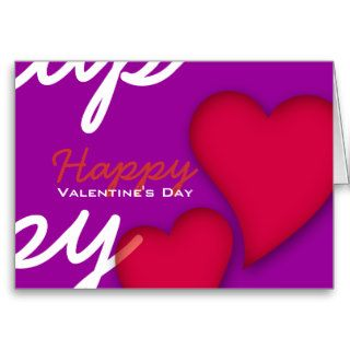 Happy Valentines Day Love Red Hearts Purple Greeting Card