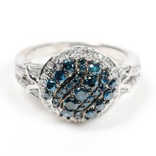 Blue & White Diamond Fashion Cocktail Ring Sterling Silver Fine Jewelry Jewelry