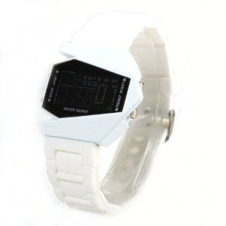 Men Women Sport Green Light LED Plane Head Shape Silicone Wrist Watch White New Watches