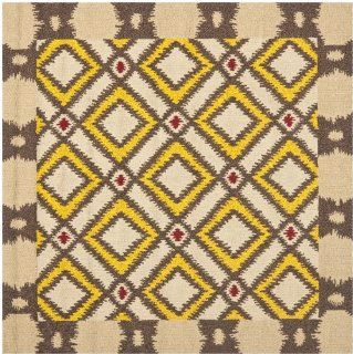 Safavieh FRS455E 6SQ Four Seasons Collection Indoor/Outdoor Square Area Rug, 6 Feet, Beige and Yellow